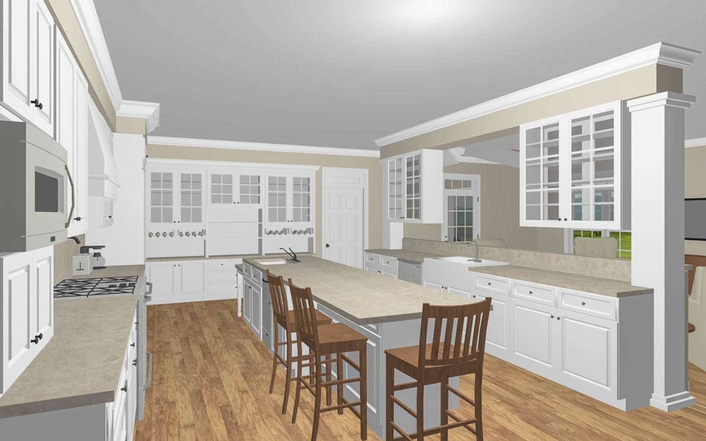 ngle Family Compound Kitchen Perspective 2