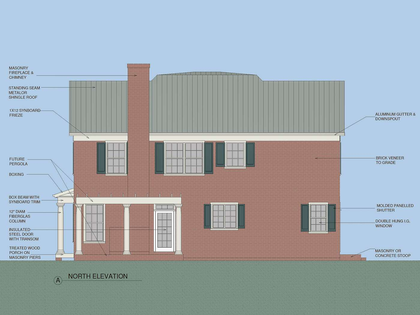 Blue Ridge Farmhouse N Elevation
